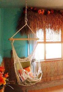 chambre tropicale chaise suspendue
