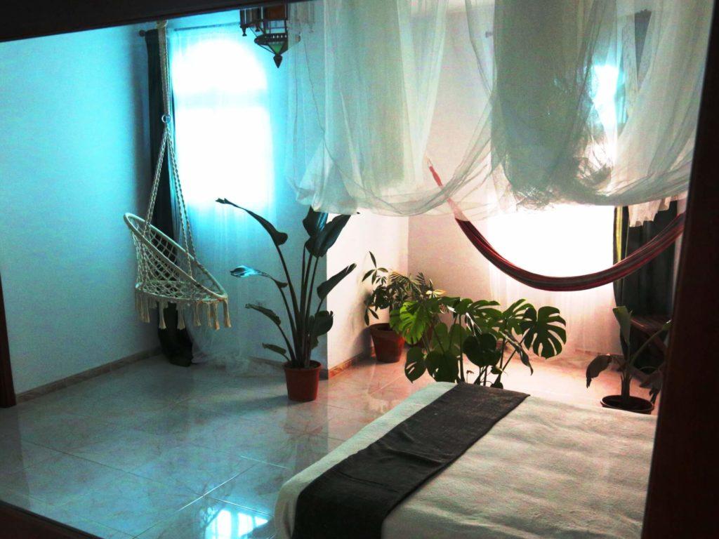Chambre Tropicale lit moustiquaire et plantes