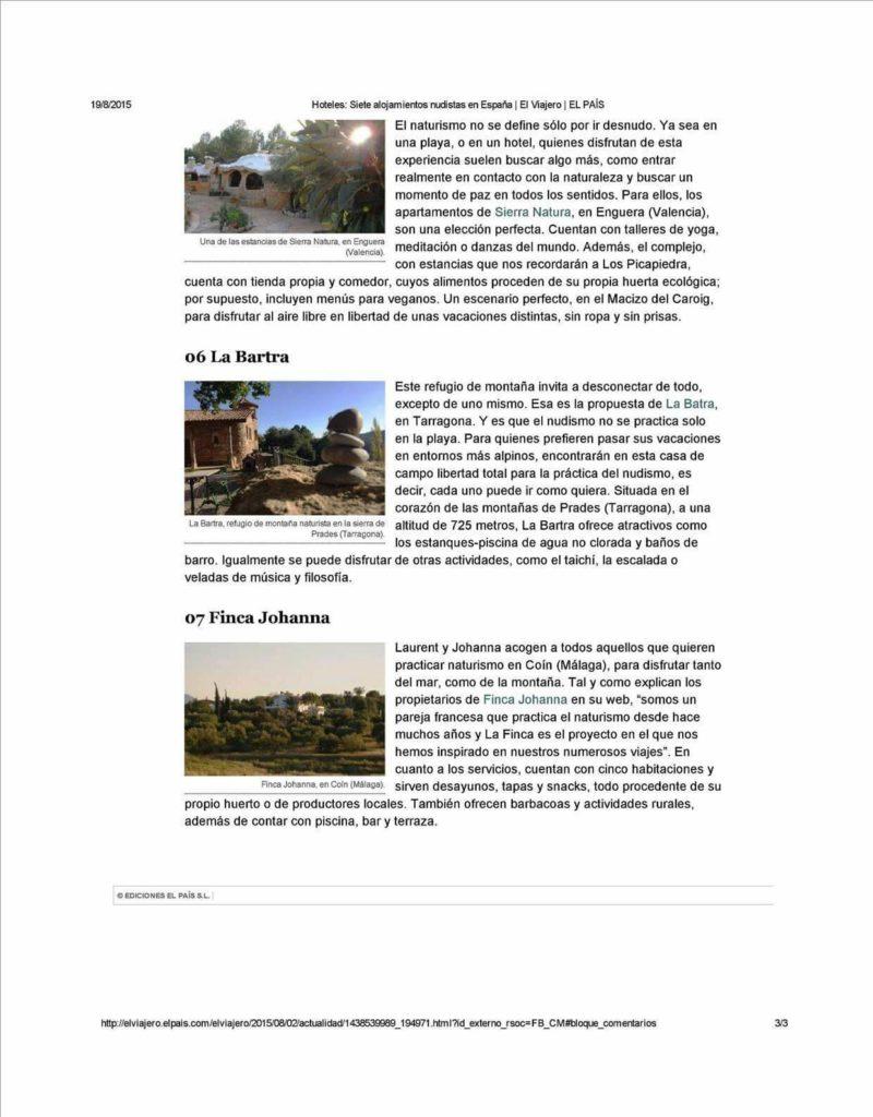 Article en Espagnol du journal El Pais - 7 hébergements naturistes, août 2015 - p3