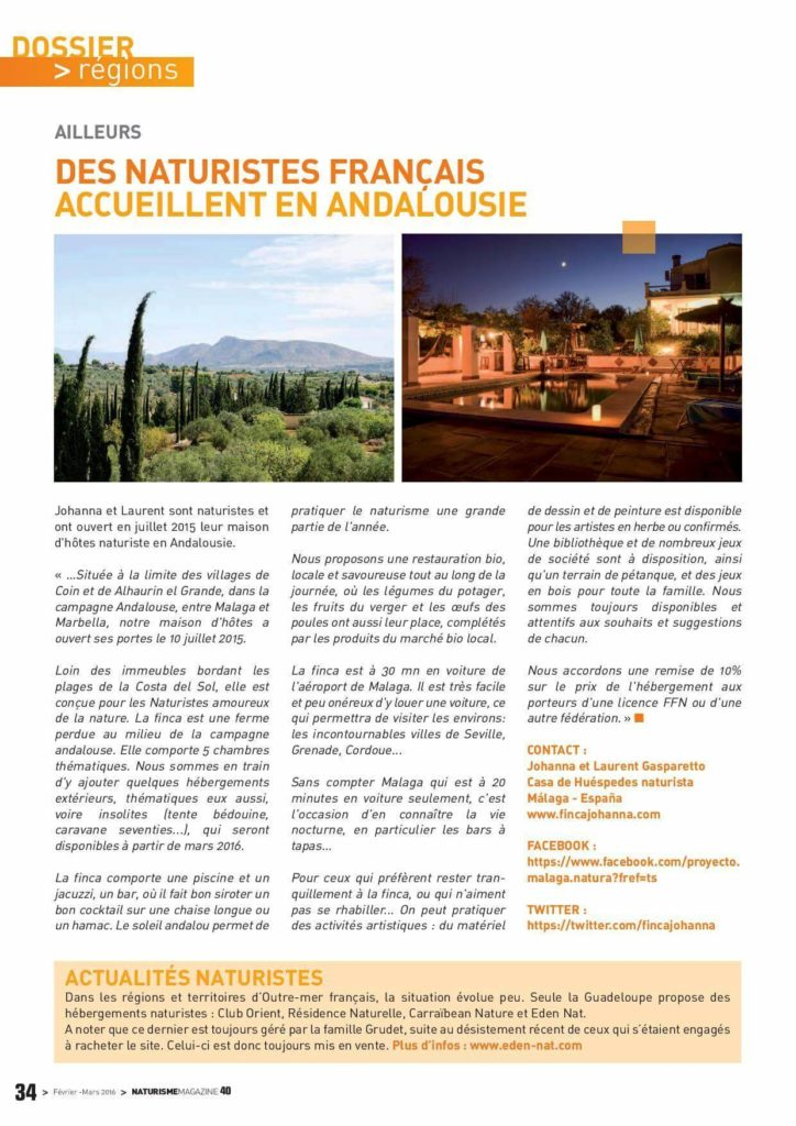 Article de Naturisme Magazine - France - mars 2016