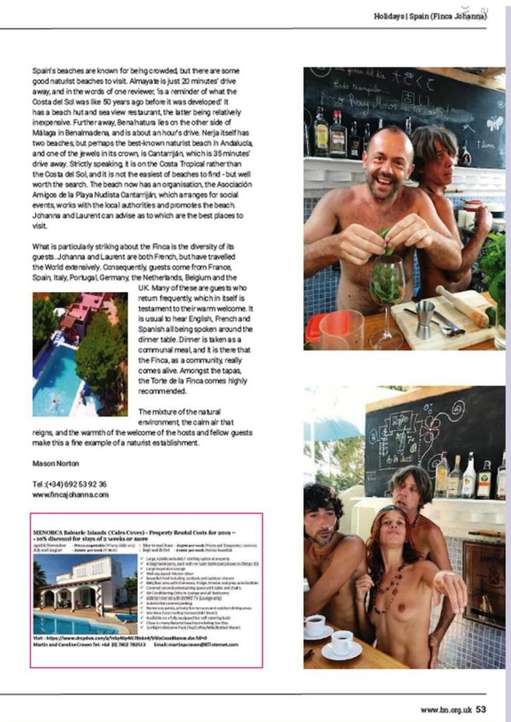 Article de British Naturism - Great Britain - avril 2019 - p2