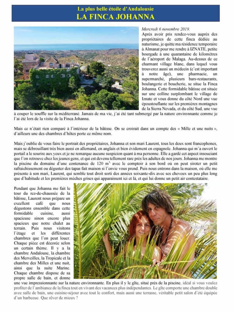 article de l'Association Sports et Loisirs Naturistes du Luxembourg, 2020 p1
